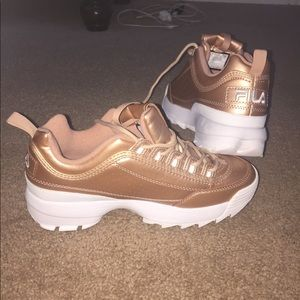 Women rose  gold fila disruptor  sneakers